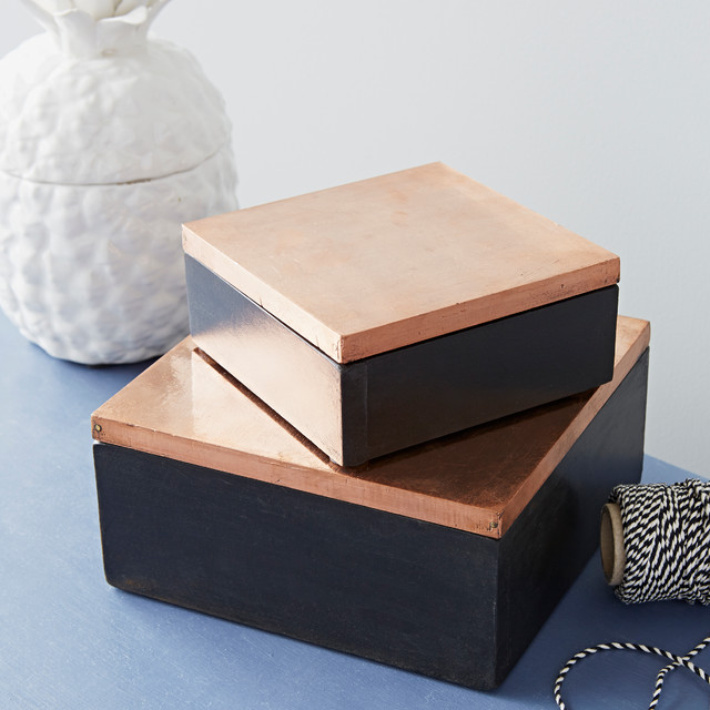 Decorative Boxes Uk: Set Of Two Copper Lidded Wooden Boxes