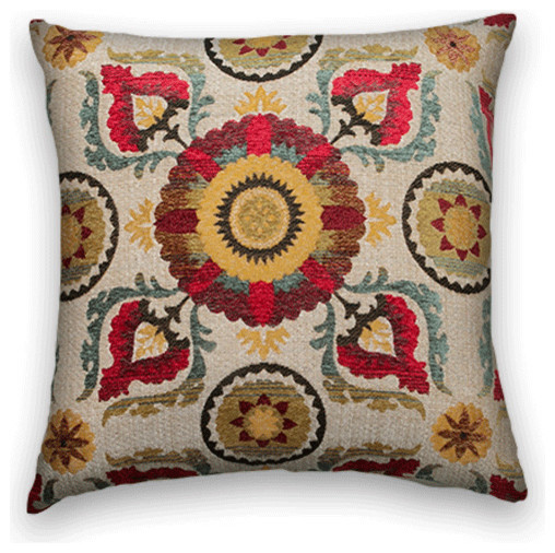 Red Yellow Turquoise Suzani Throw, - Traditional - Decorative Pillows - by Cody & Cooper Designs