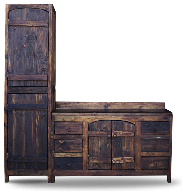 Old World Vanity from Reclaimed Barnwood, 55x20x32 with Linen Cabinet - Rustic - Bathroom ...