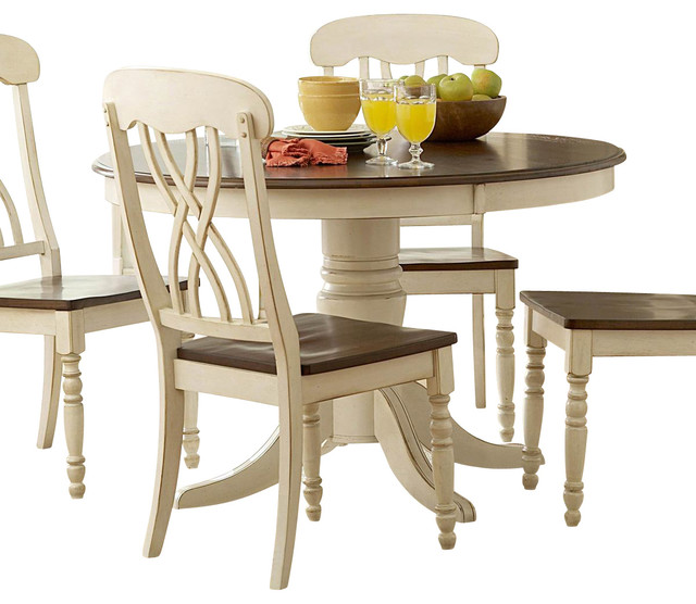 Homelegance ohana round pedestal dining table in white and cherry traditional dining tables - Pedestal kitchen table set ...