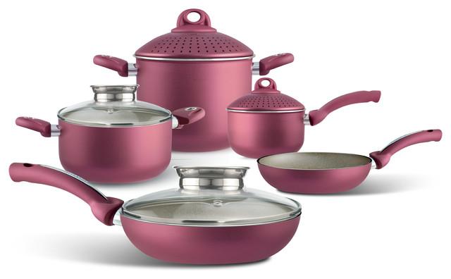 Pensofal non stick cookware red 9 piece set moderne for Set cuisine moderne