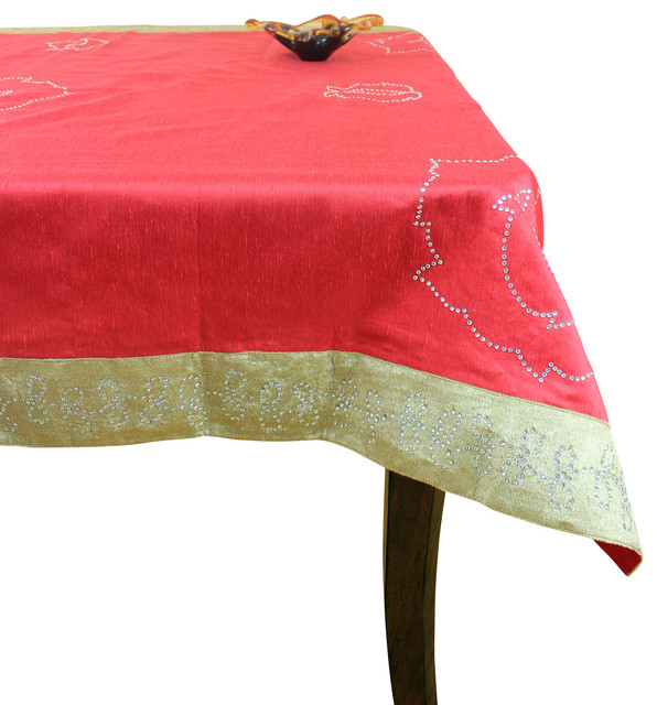 Velvet sparkle rectangular tablecloth red 52 x 70 for Table induction 70 x 52