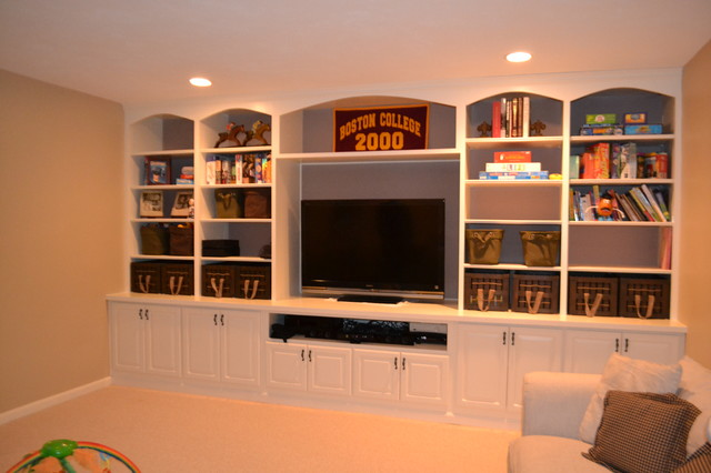 custom built in traditional basement boston by premiere pros