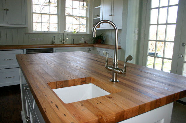 Reclaimed White Oak Wood Tops Farmhouse Kitchen