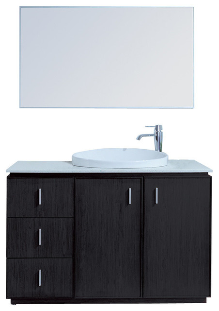 Brewster Single Sink Vanity With Faux Marble Top Modern Bathroom Vanity U