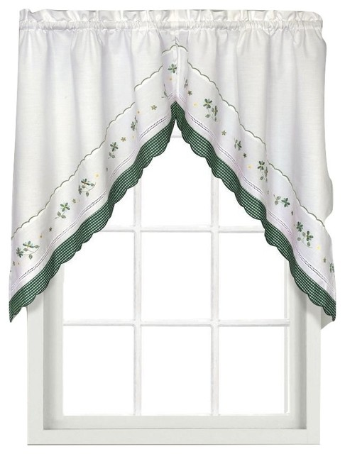 Gingham green floral kitchen curtain, Swag - Traditional - Valances - by Linens4Less