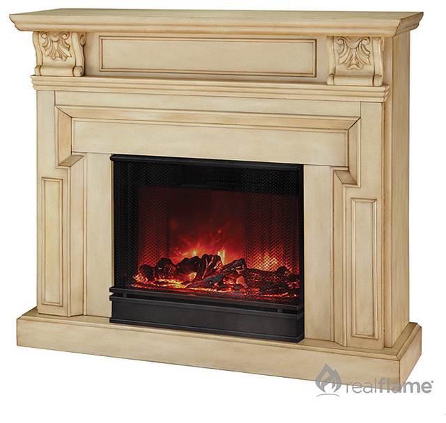 Real flame kristine white antique electric fireplace for Bedroom electric fireplace