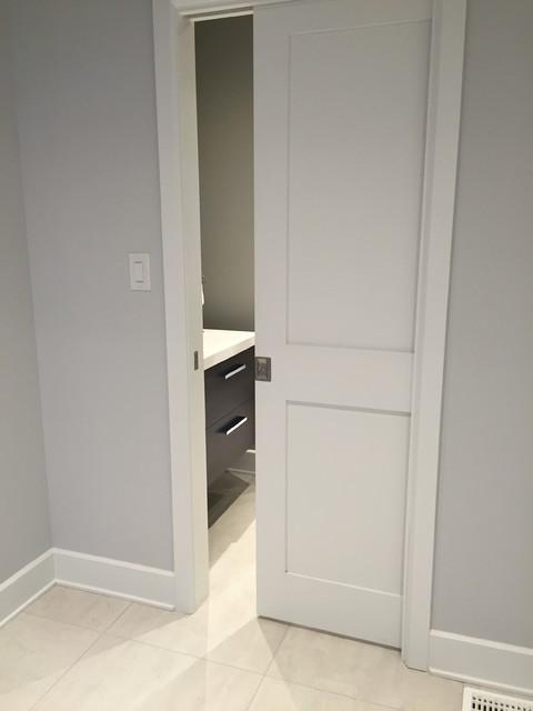 Shaker Style Pocket Door Transitional Laundry Room