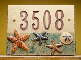 Handmade Ceramic House Number Sign Beach By Fine Clay Art