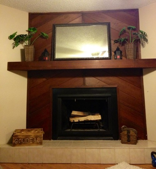 Corner wood paneled fireplace Should i paint wood paneling