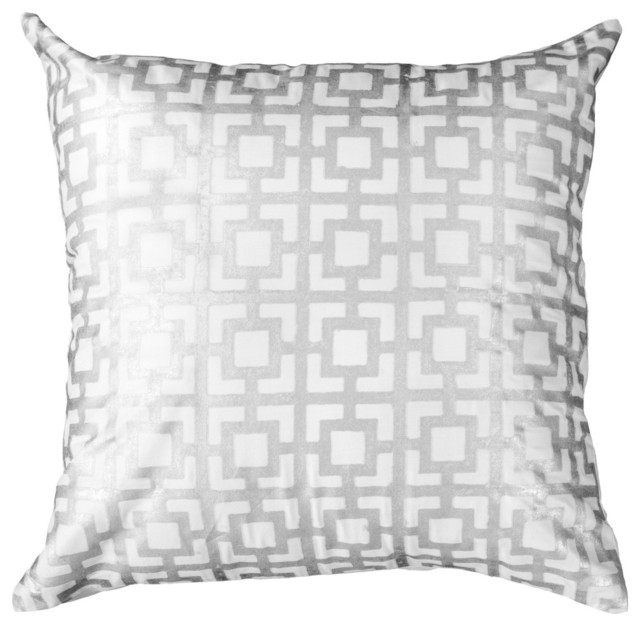 Modern Silver Pillows : Bandhini Home Net Silver Medium Throw Pillow - Modern - Decorative Pillows - by Zinc Door