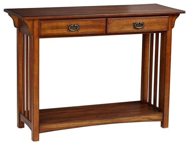 Shiloh mission style dark oak console table craftsman for Mission style dining table