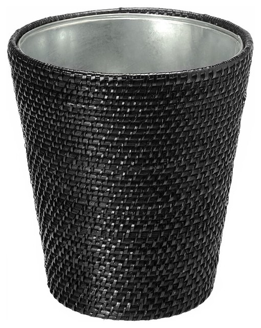 Laguna rattan waste basket with tin insert black tropical wastebaskets by kouboo - Rattan waste basket ...