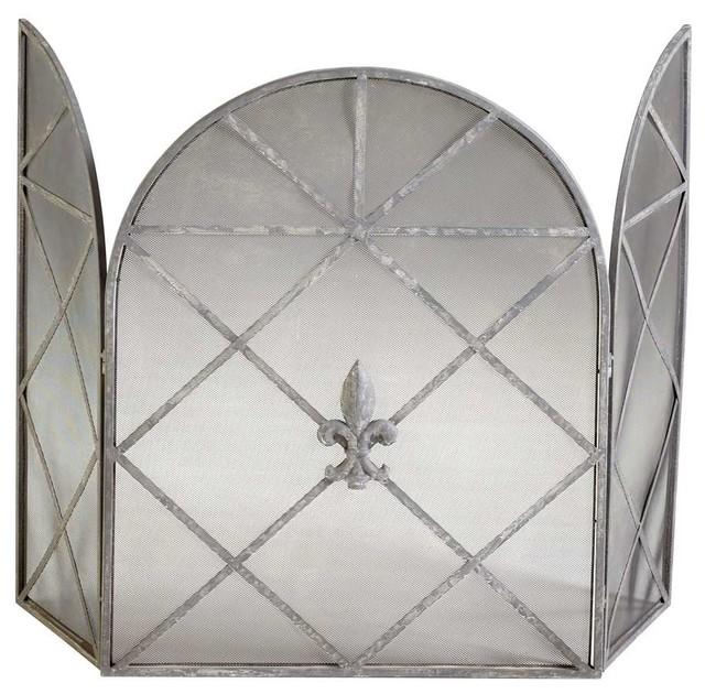 Cyan design caswell fire screen rustic gray traditional fireplace screens by shopfreely - Houzz fireplace screens ...