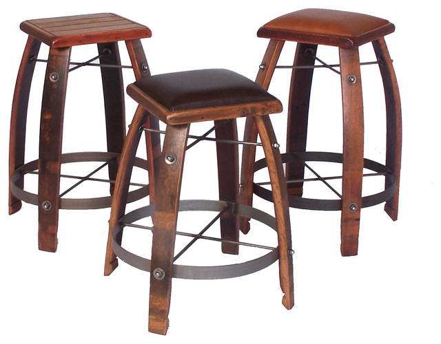 Wine stave bar stools rustic bar stools and counter stools other metro by rusticsinks Rustic outdoor bar stools