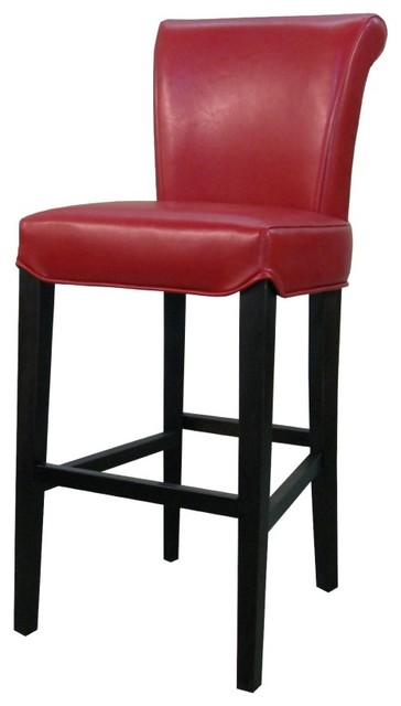Bentley Genuine Split Leather Counter Stool Red Set Of 2