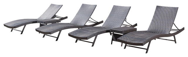 Eliana outdoor 6 piece brown wicker chaise lounge chairs for Belmont 4 piece brown wicker patio chaise lounge set