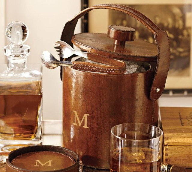 saddle leather lidded ice bucket tongs contemporary ice tools and buckets by pottery barn. Black Bedroom Furniture Sets. Home Design Ideas