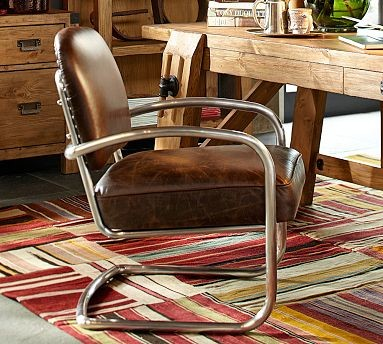 Archer Leather Metal Desk Chair Traditional Dining Chairs By Pott