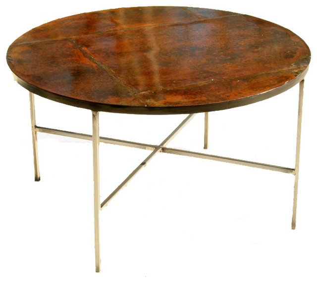 Custom Round Patinated Copper Table