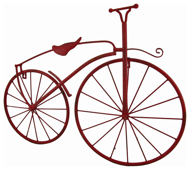 Metal vintage style high wheel bicycle wall hanging red for Bicycle wheel wall art