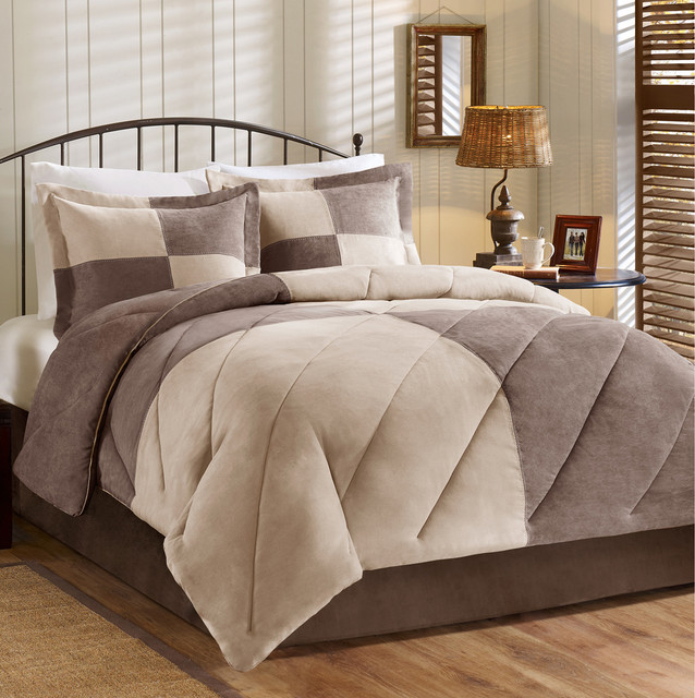 Woolrich Patchwork Suede Down Alternative Comforter Mini Set Contemporary Comforters And