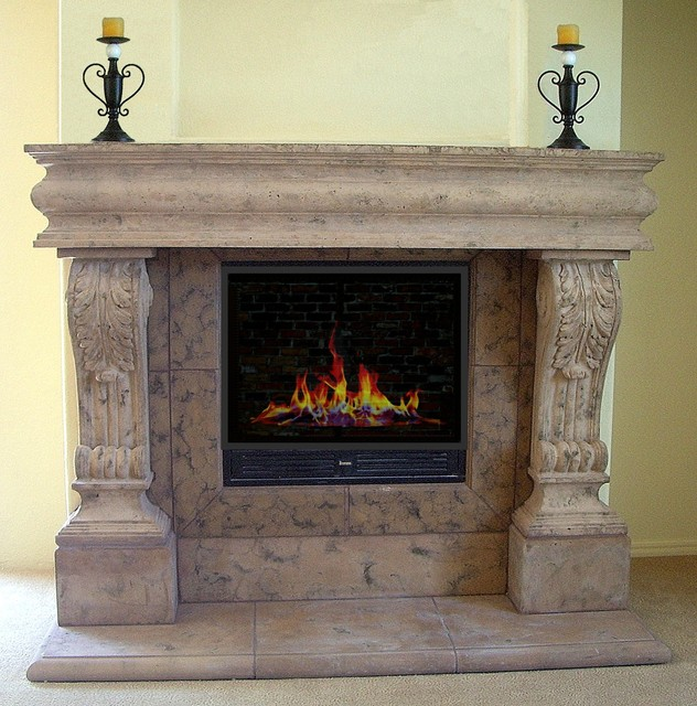 Raised acanthus cast stone mantel mediterranean for Cast stone fireplace mantels