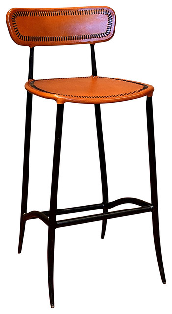 Rocket Bar Stool Apricot And Burnished Iron