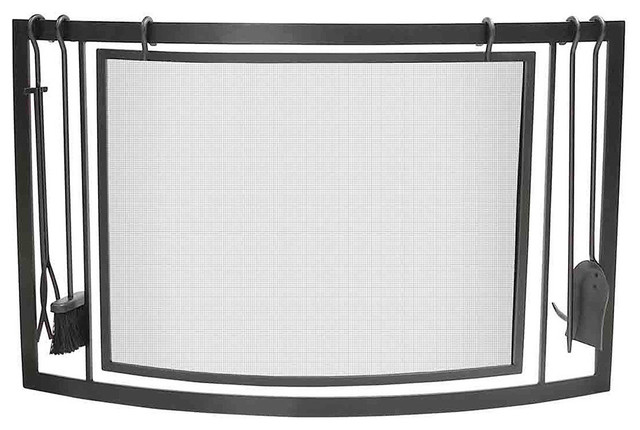 Napoleon black curved fireplace screen tool set contemporary fireplace screens by - Houzz fireplace screens ...