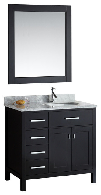 London 36 Single Sink Vanity Set With Drawers On The Left Espresso Contemporary Bathroom