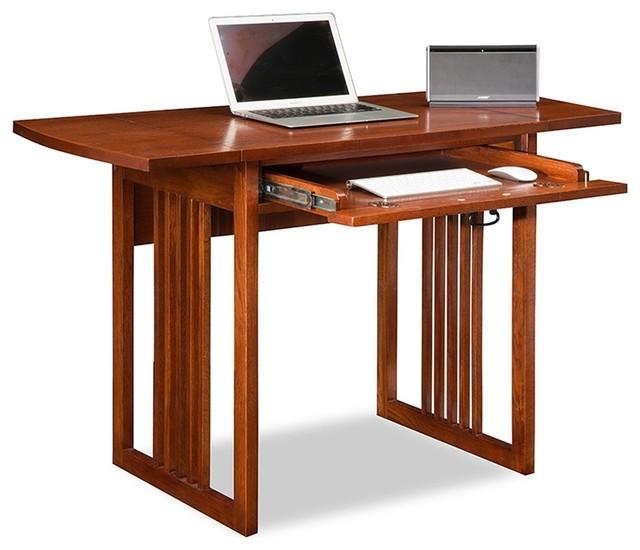 Mission Oak Drop Leaf Computer Desk - Traditional - Desks And Hutches