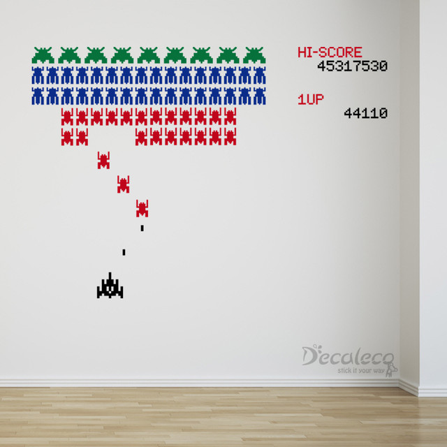 GIANT vinyl wall decal Retro Galaga like Arcade game with Space Invaders - Wall Decals - by Decaleco