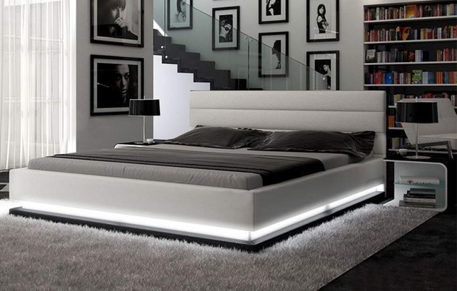 Infinity contemporary white platform bed with lights for Cool contemporary beds