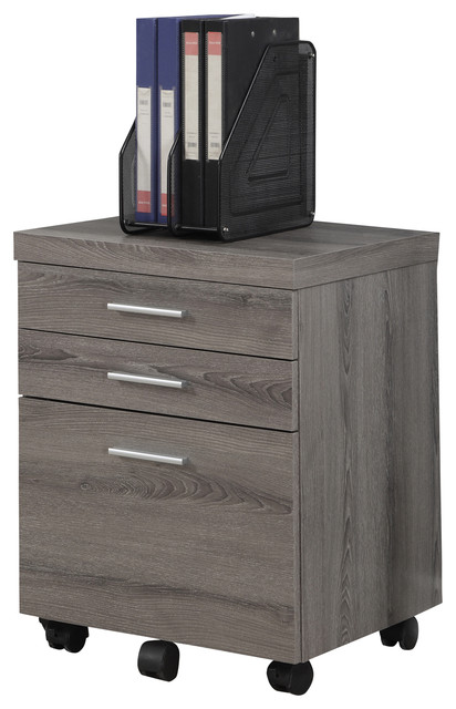Dark Taupe Reclaimed-Look 3 Drawer File Cabinet, Castors - Contemporary - Filing Cabinets - by ...