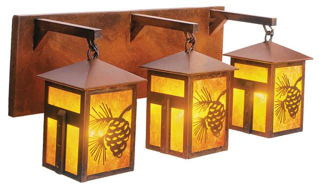 Mission Lake Triple Vanity Light - Rustic - Bathroom Vanity Lighting - by Steel Partners, Inc.