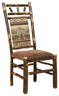 Rustic Hickory Dining Chairs Set Of 2 Erie Fabric