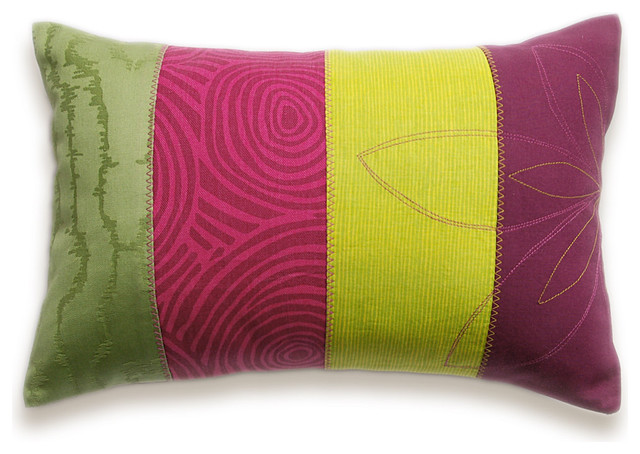 Patchwork Stripes Decorative Lumbar Pillow Cover 12x18 DHARMA DESIGN - Eclectic - Decorative ...