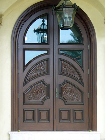 Mahogany carved wood doors tropical front by