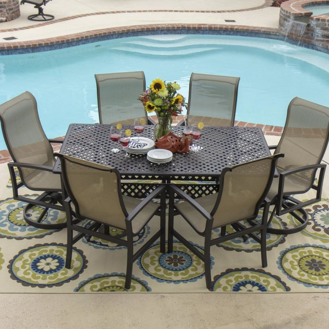 Acadia 7 Piece Sling Patio Dining Set With Swivel Rockers And Round Table By Lakeview Outdoor