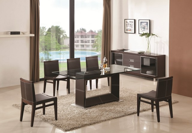 Contemporary Wooden and Clear Glass Top Leather Dining ...