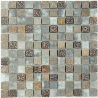 Grey Frosted Glass and Stone - Modern - Mosaic Tile - by Glass Tile Oasis