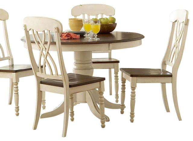 homelegance ohana 6 piece round dining room set in white