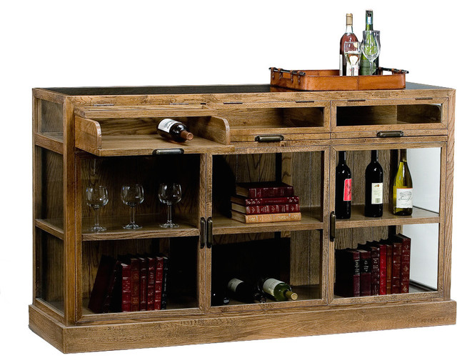 Germain Oak Display Cabinet 3 Sections rustic-wine-and-bar-cabinets