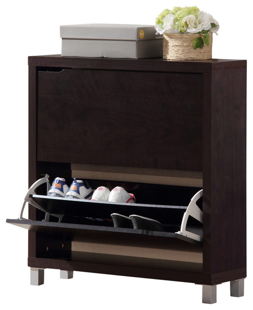 Simms Dark Brown Shoe Cabinet - Traditional - Shoe Storage - by Fratantoni Lifestyles