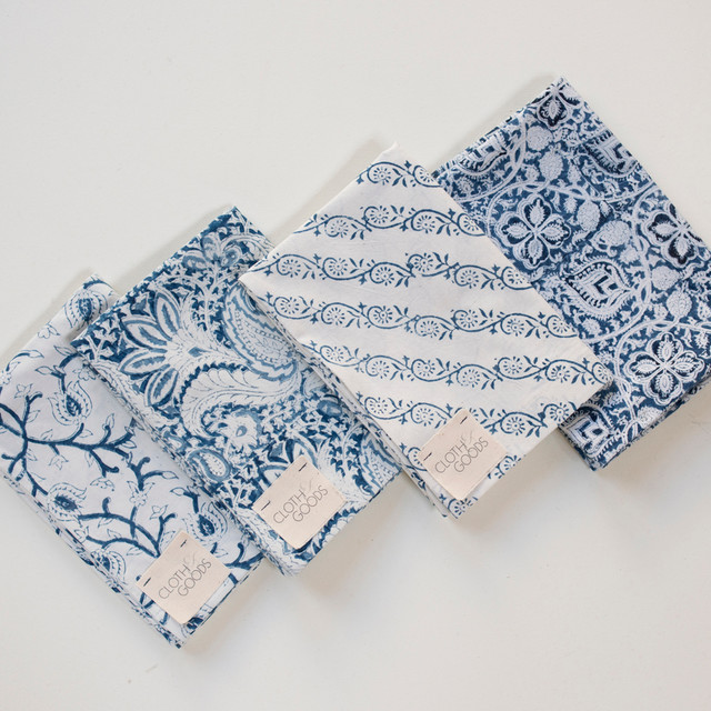 Block Print Blue And White Pillow Cases Contemporary
