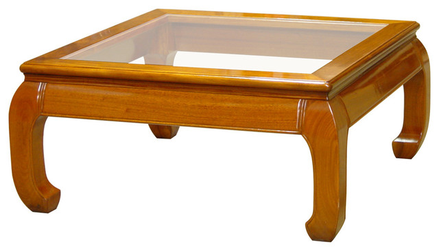 Rosewood ming style square coffee table with glass asian for Asian furniture westmont il