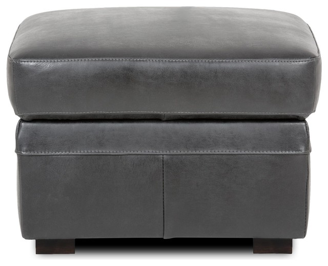 cuba salon pouf coffre en cro te de cuir vieilli noir contemporain repose pieds pouf et. Black Bedroom Furniture Sets. Home Design Ideas