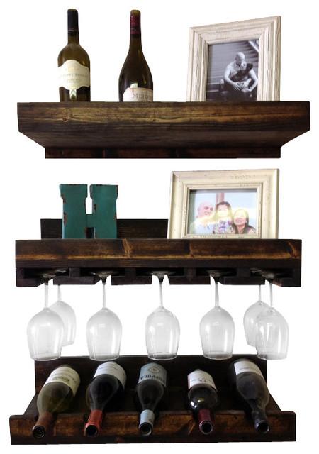 Luxe Pine Wine Racks Set Of 3 Rustic Wine Racks By