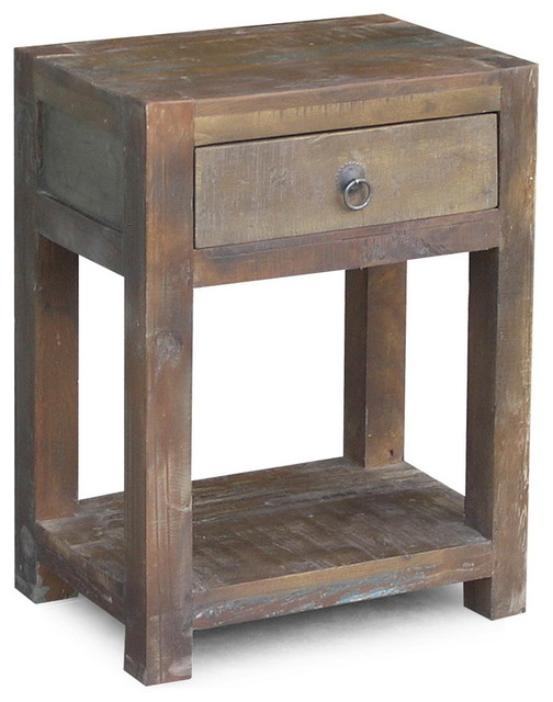 Reclaimed Wood End Table with Drawer - Rustic - Side Tables And End Tables - San Francisco - by ...