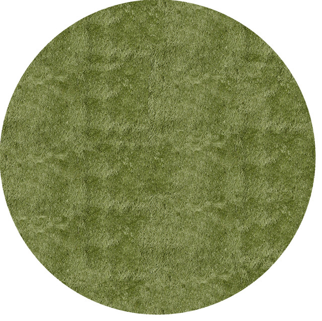 Handmade Posh Shag Apple Green Round Rug (4' X 4